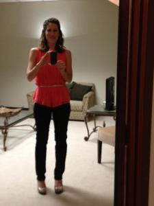 My dorky self portrait where I look oddly short despite my huge heels. But whatever. Ta da!