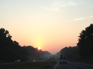There's a zen to seeing the sun rise on a steamy Southern morning and being one of three cars on the road.