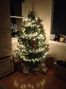 And I bought my first live tree and figured out my tree decorating motif. Gold, silver and bronze.